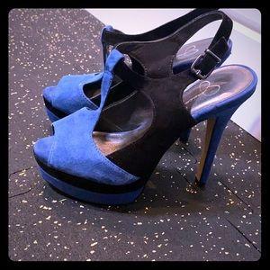 Black & blue t strap stilettos